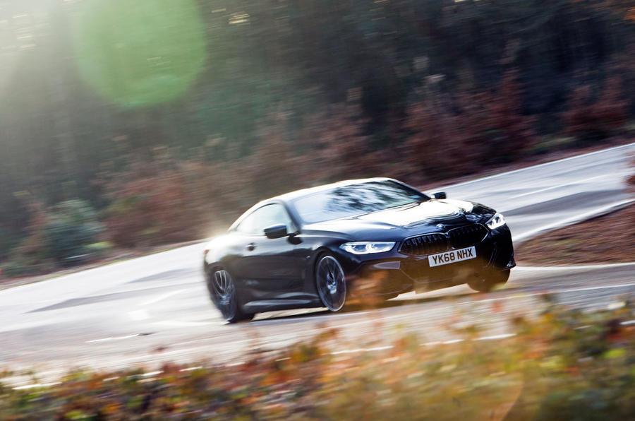 BMW 8 Series Coupé 2019 road test review - cornering front