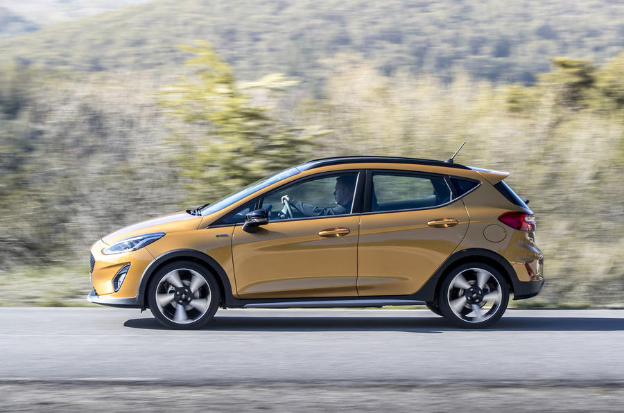 Ford Fiesta Active 2018 road test review on the road side