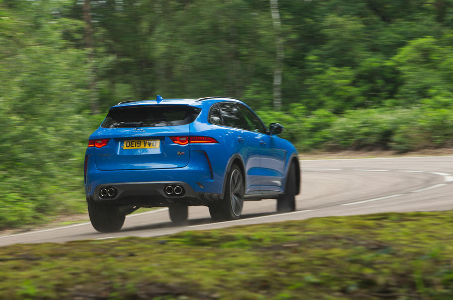 Jaguar F-Pace SVR 2019 road test review - cornering rear