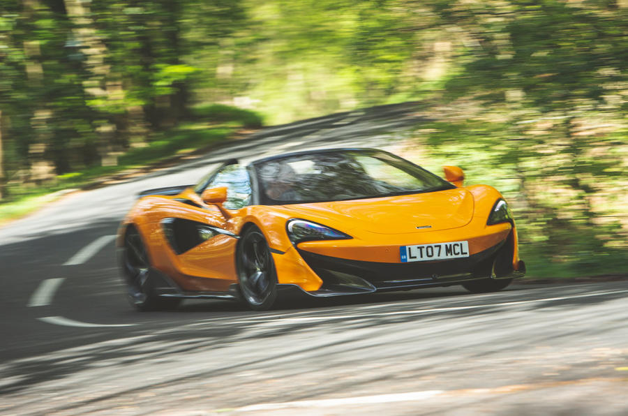 McLaren 600LT Spider 2019 road test review - cornering front