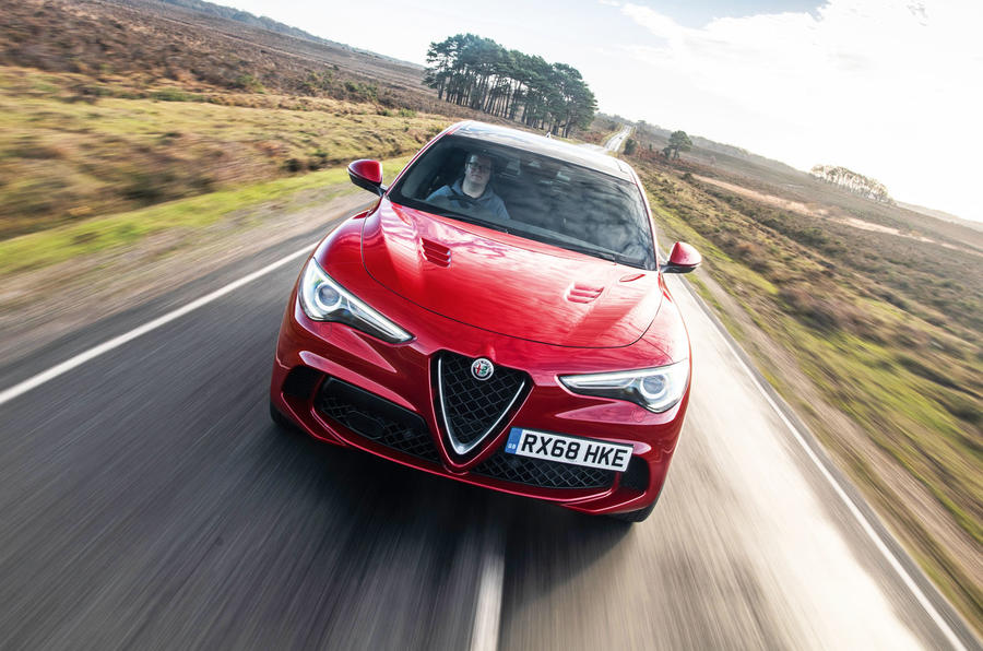 Alfa Romeo Stelvio Quadrifoglio 2019 road test review - on the road nose