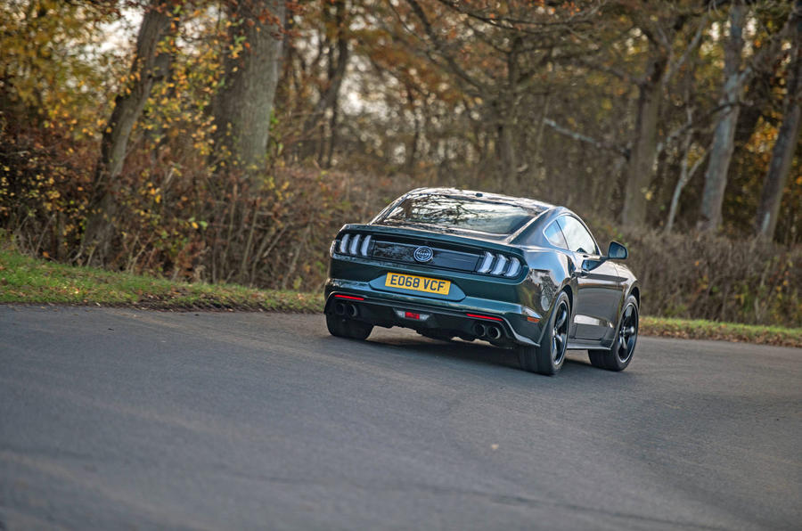 Ford Mustang Bullitt 2018 road test review - cornering rear