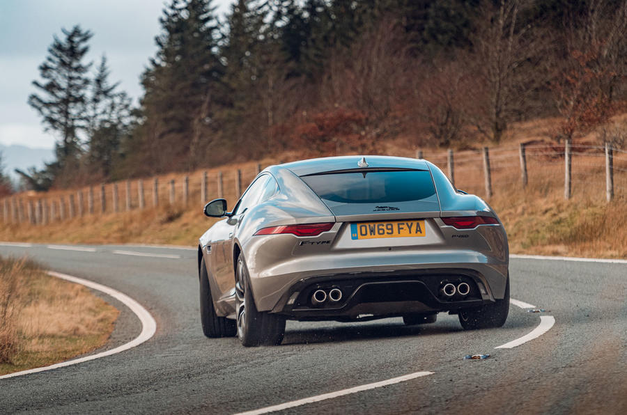 Jaguar F-Type 2020 road test review - cornering rear