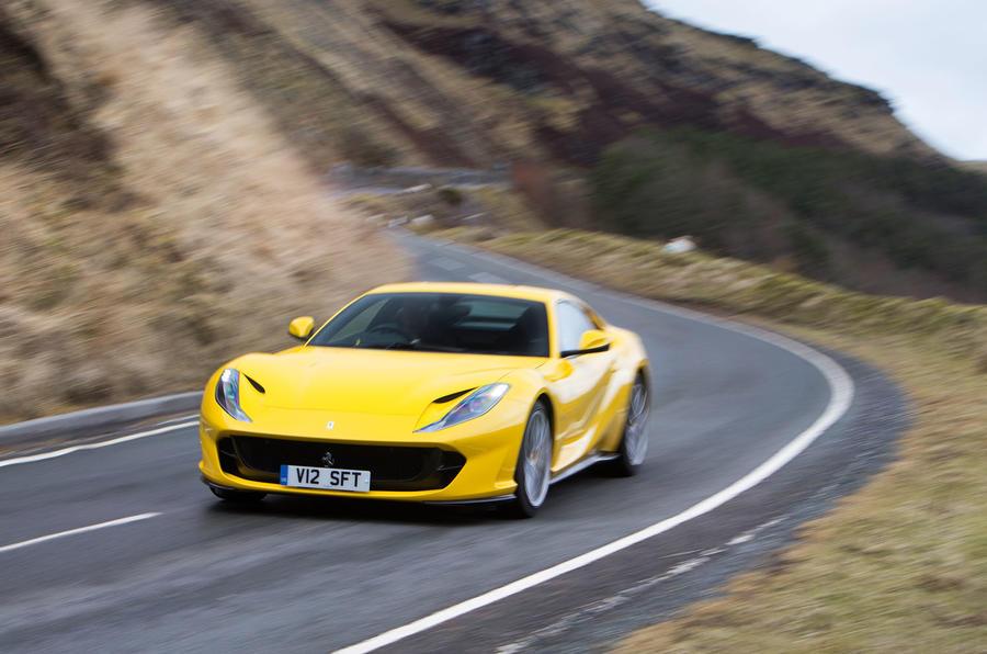 Ferrari 812 Superfast 2018 road test review cornering front