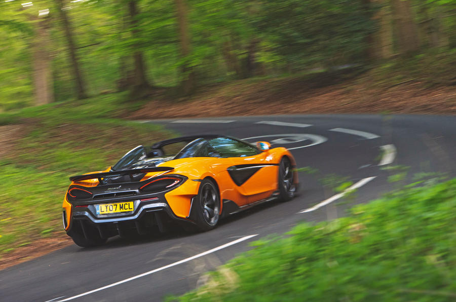 McLaren 600LT Spider 2019 road test review - cornering rear