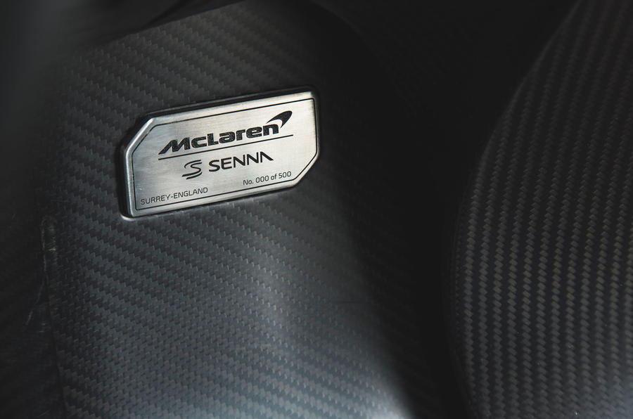 McLaren Senna 2018 road test review - plaque