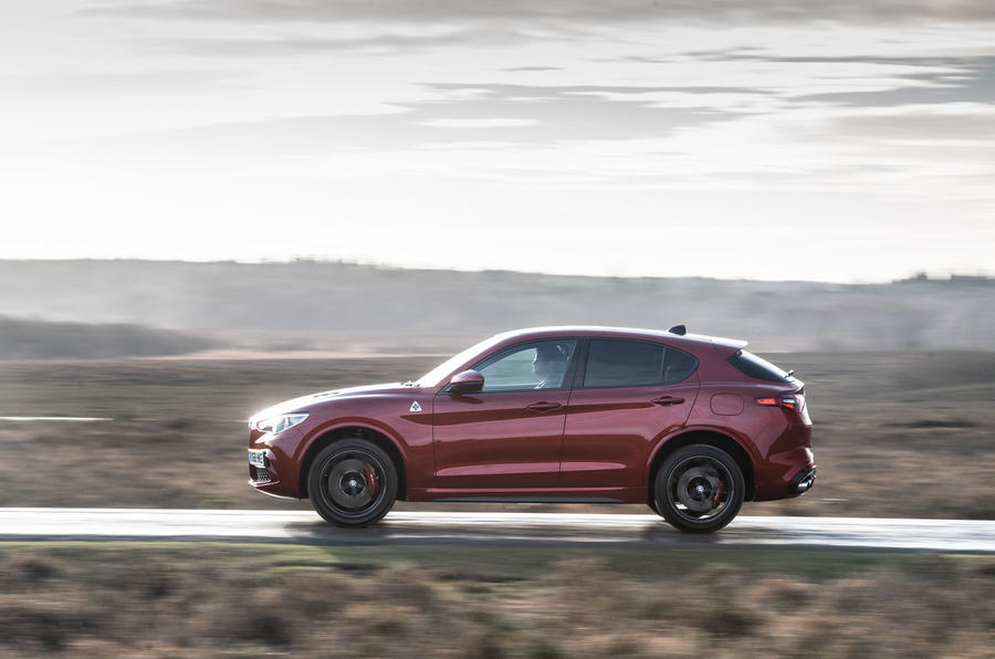 Alfa Romeo Stelvio Quadrifoglio 2019 road test review - on the road left