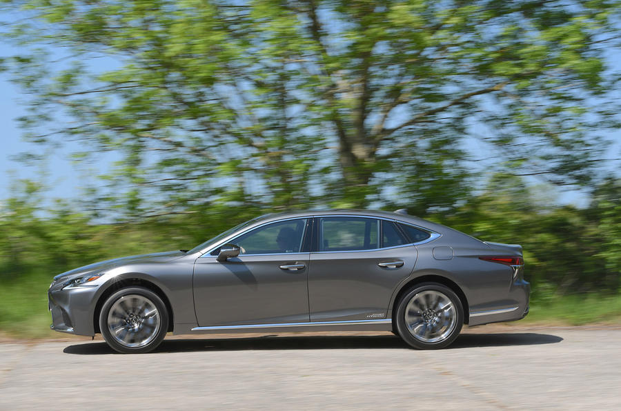 Lexus LS500h 2018 road test review side on the road