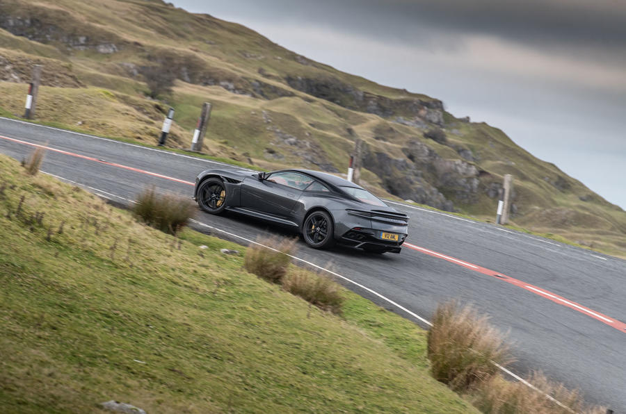 Aston Martin DBS Superleggera 2018 road test review - cornering rear