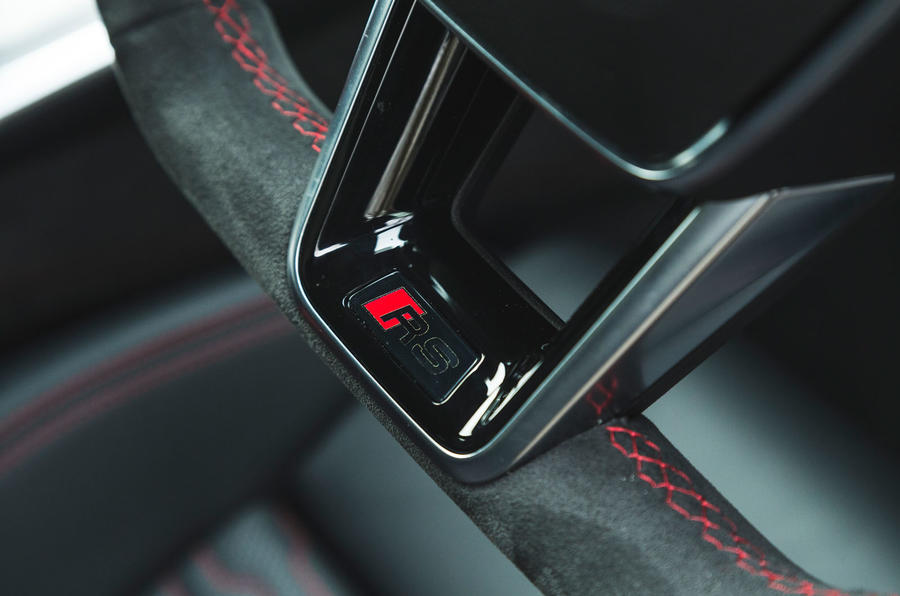Audi RS6 Avant 2020 road test review - steering wheel logo
