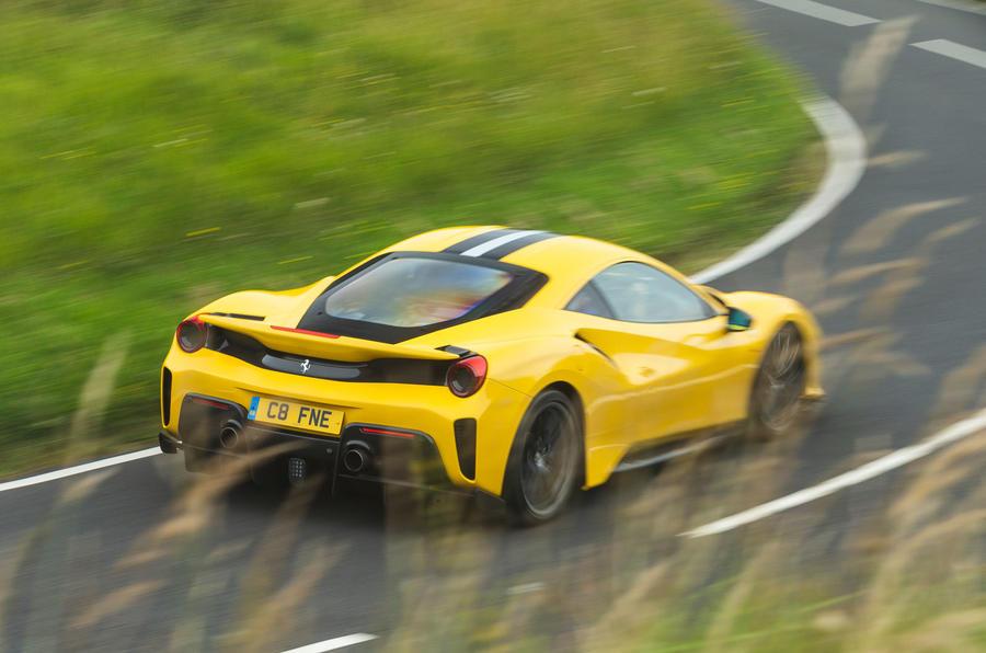 Ferrari 488 Pista 2019 road test review - on the road rear