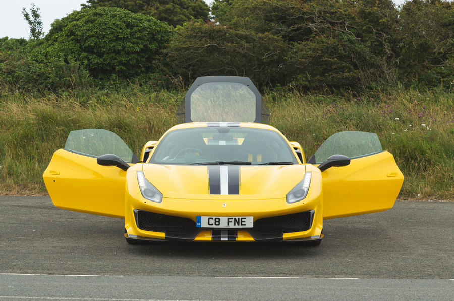 Ferrari 488 Pista 2019 road test review - static doors