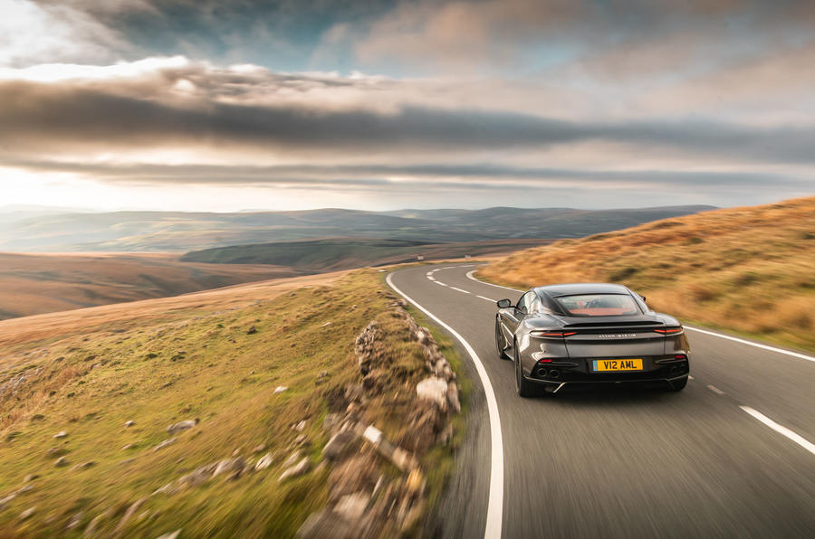Aston Martin DBS Superleggera 2018 road test review - driving rear