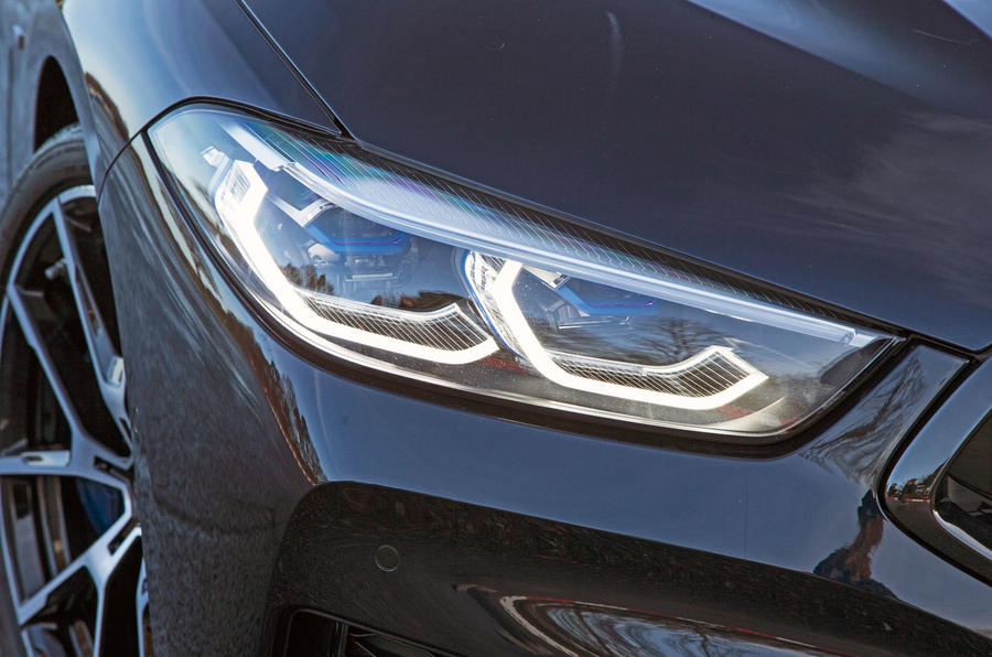 BMW 8 Series Coupé 2019 road test review - headlights