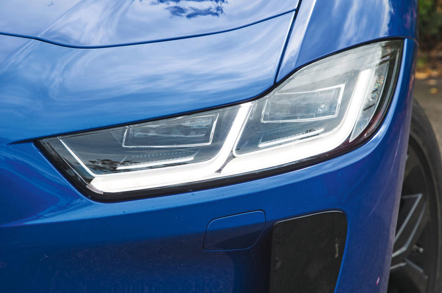 Jaguar I-Pace 2018 road test review headlights