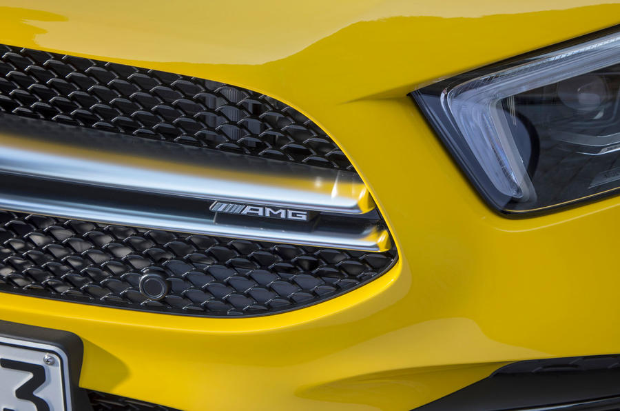 Mercedes-AMG A35 2018 review - front grille badge