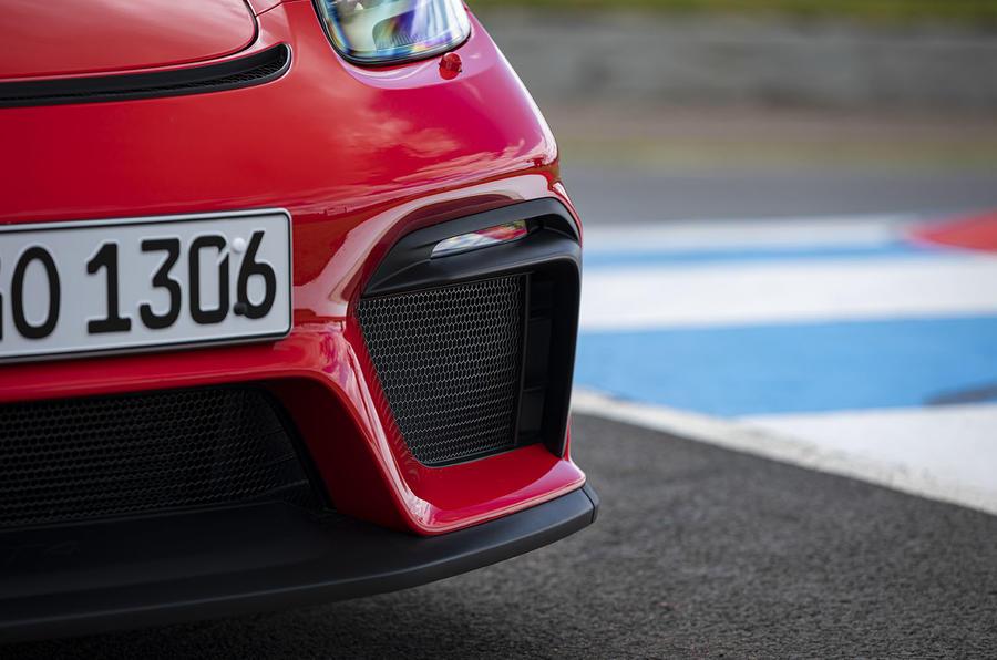 Porsche 718 Cayman GT4 2019 road test review - front bumper