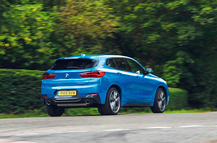 BMW X2 M35i 2019 road test review - cornering rear