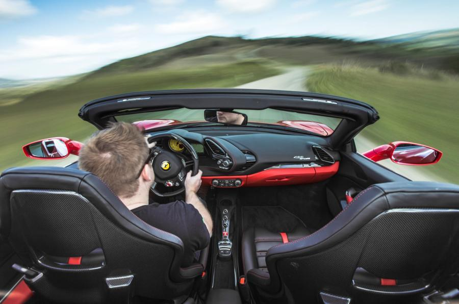 Ferrari 488 Spider roof-down driving
