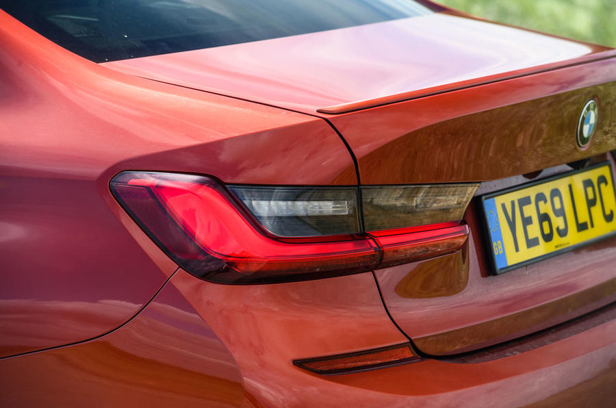 BMW 3 Series 330e 2020 road test review - rear lights