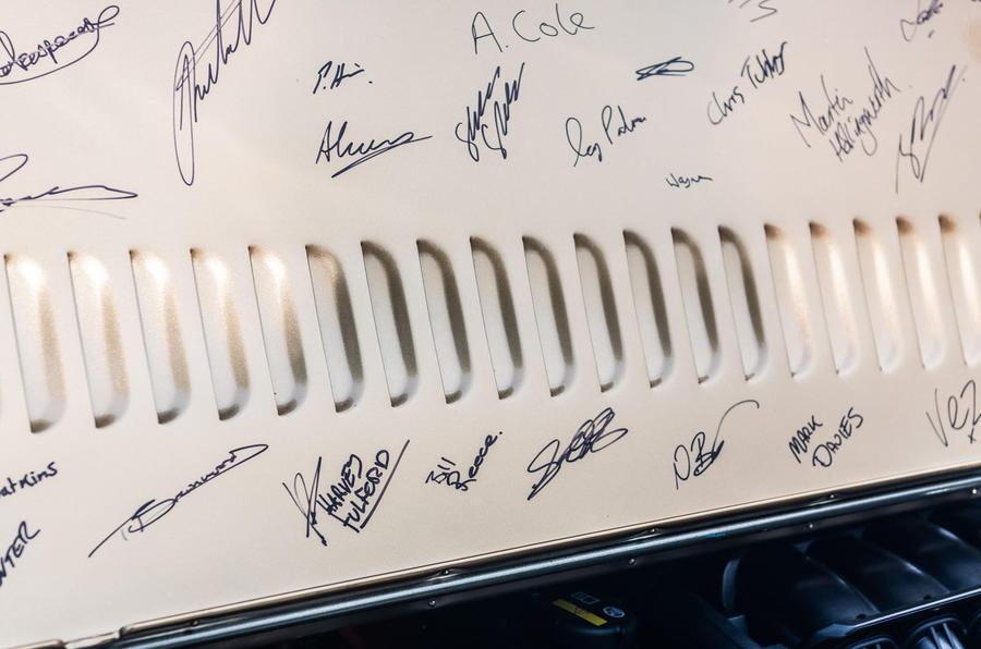 Morgan Aero GT 2018 review - engine cover signatures