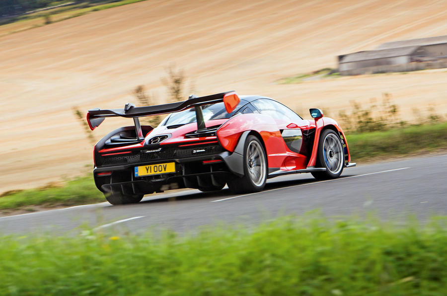 McLaren Senna 2018 road test review - cornering rear