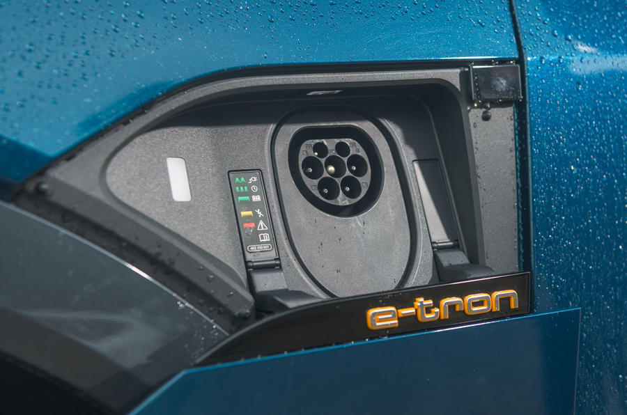 Audi E-tron 55 Quattro 2019 road test review - charging port