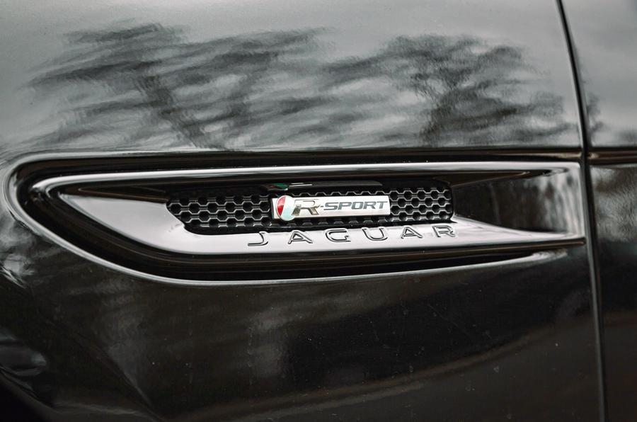 Jaguar XF Sportbrake 2019 road test review - side badge