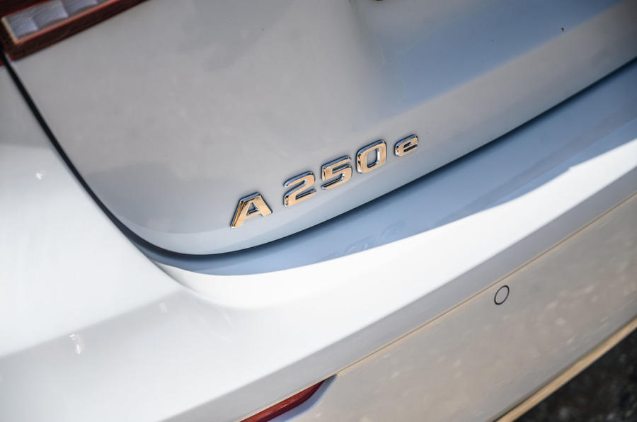 Mercedes-Benz A250e 2020 road test review - rear badge
