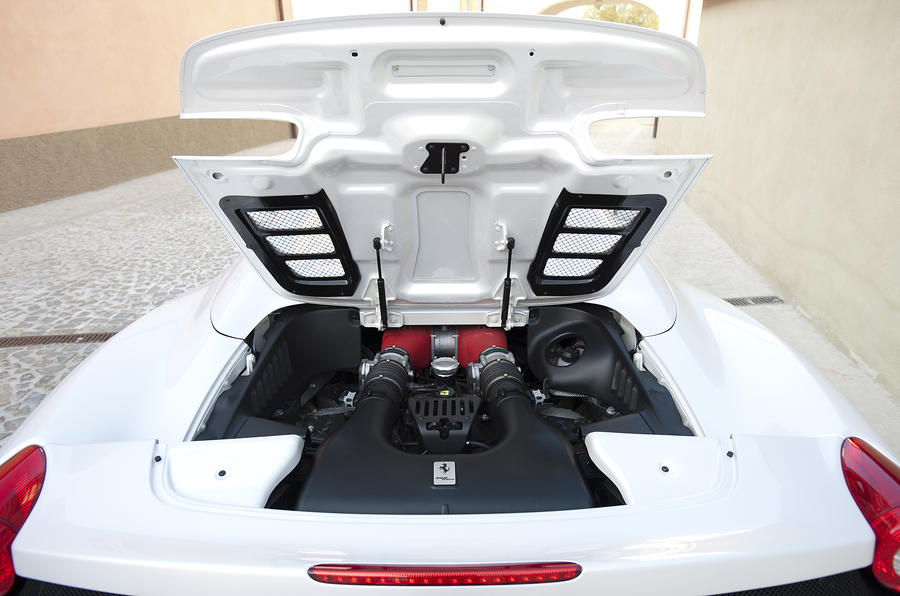 Ferrari 458 Spider engine bay