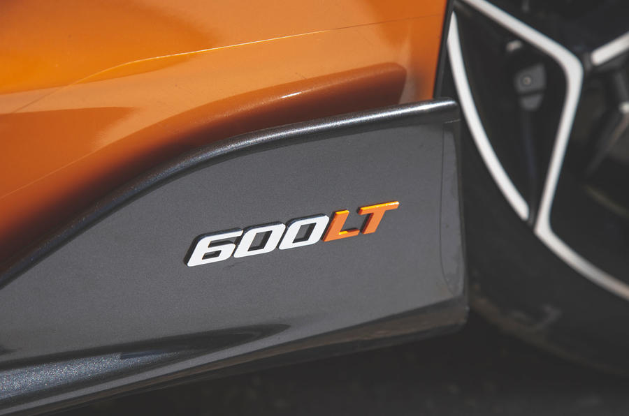 McLaren 600LT Spider 2019 road test review - side skirt badge