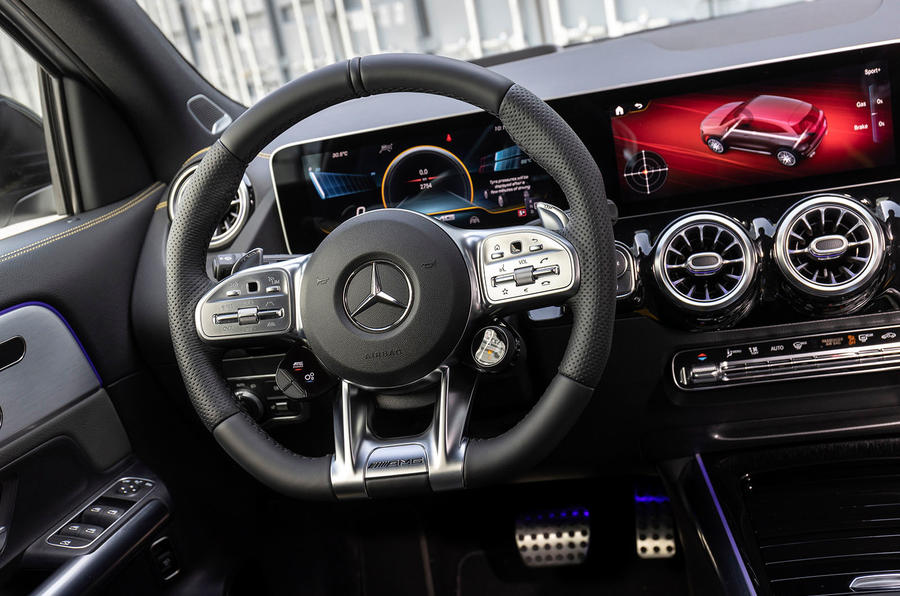 Mercedes-AMG GLA 45 S Plus 2020 road test review - steering wheel