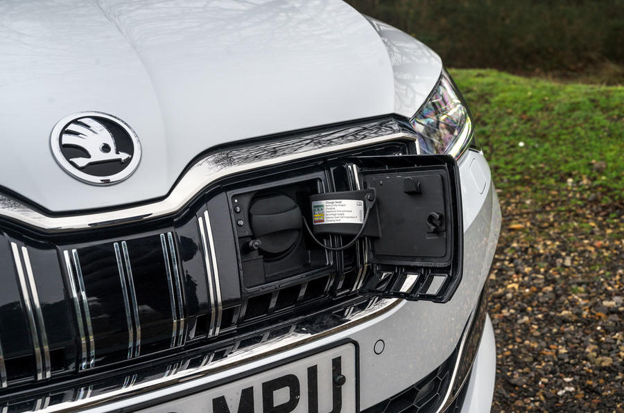 Skoda Superb iV 2020 road test review - charging port