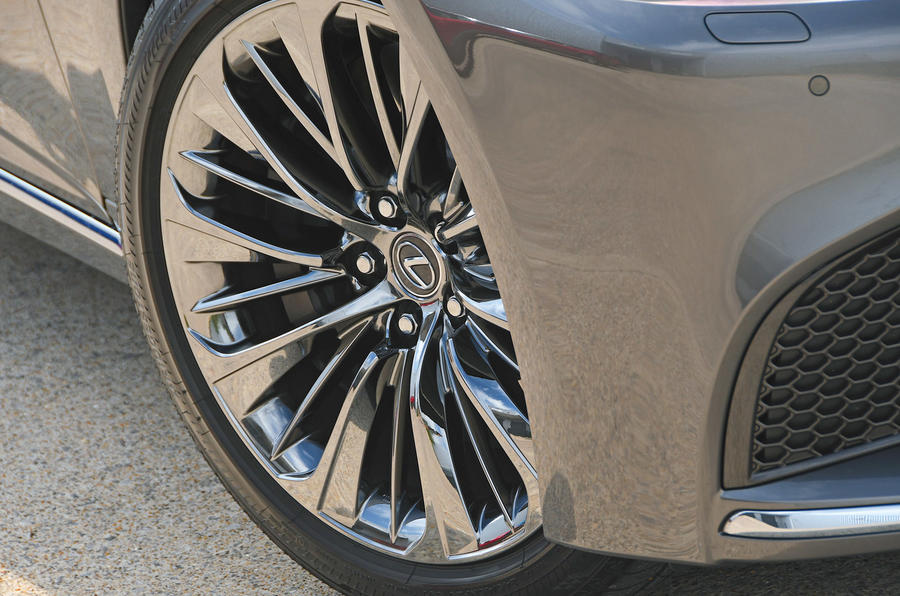 Lexus LS500h 2018 road test review alloy wheels