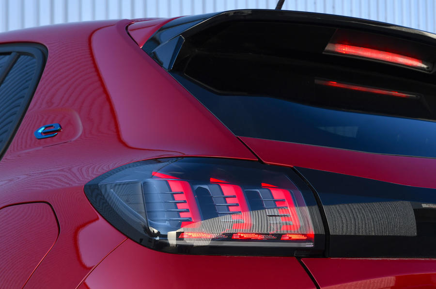 Peugeot e-208 2020 road test review - rear lights