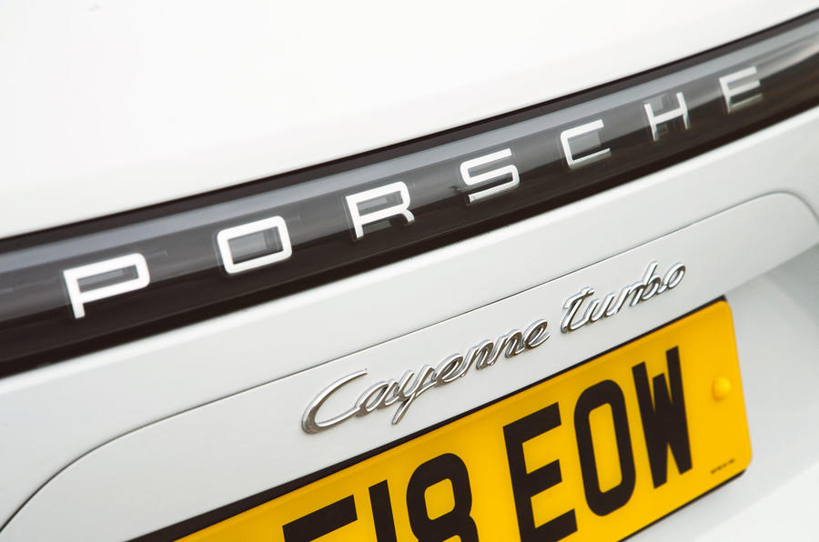Porsche Cayenne Turbo 2018 road test review rear badge