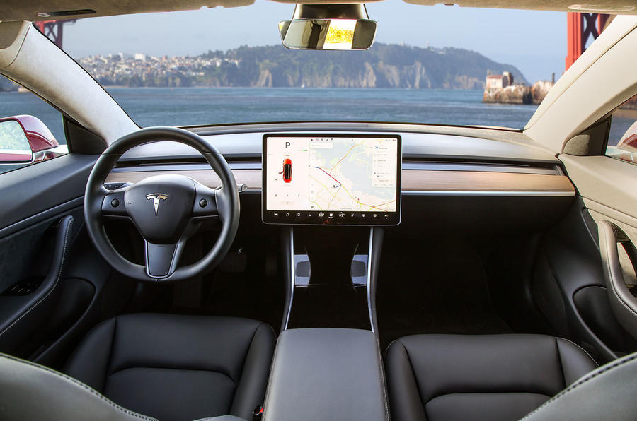 ... review interior; Tesla Model 3 2018 road test review dashboard ...