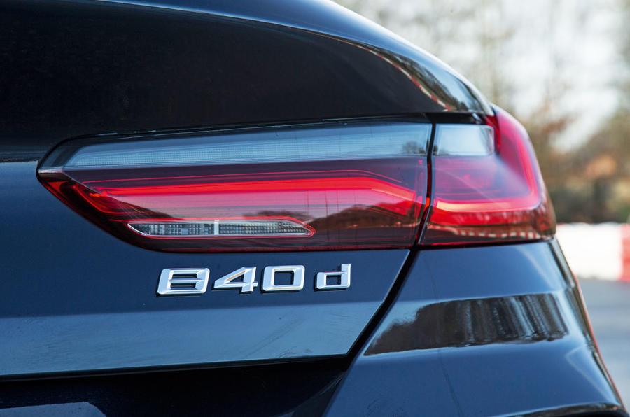 BMW 8 Series Coupé 2019 road test review - rear badge