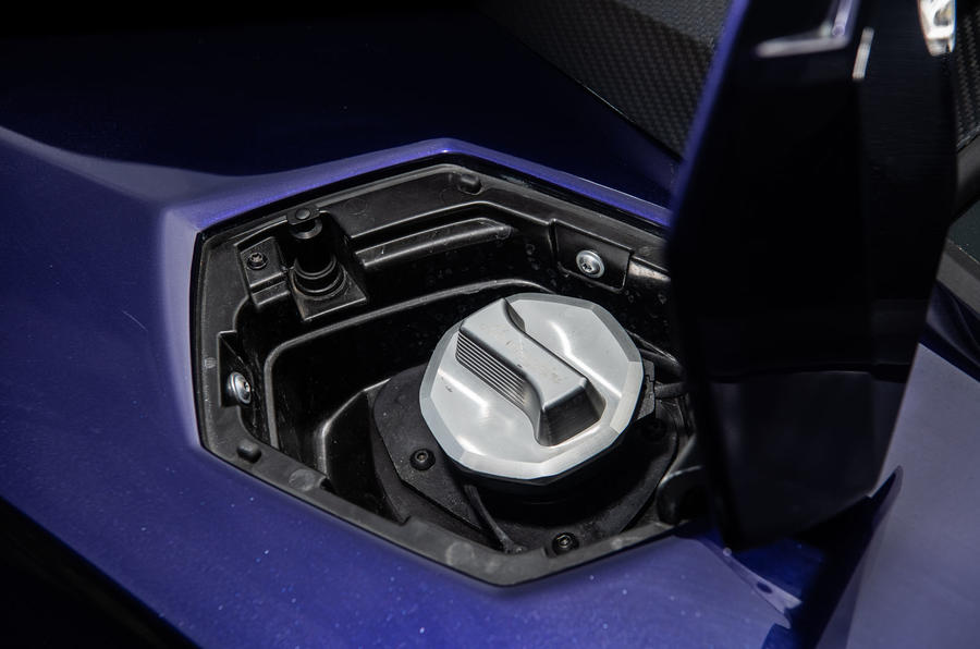 Lamborghini Aventador SVJ 2019 road test review - fuel filler cap