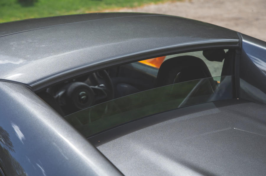 McLaren 600LT Spider 2019 road test review - rear window glass