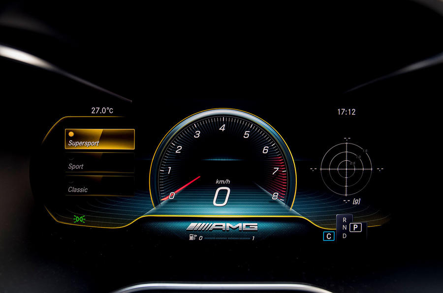 Mercedes-AMG C43 Coupe 2018 road test review instrument cluster supersport