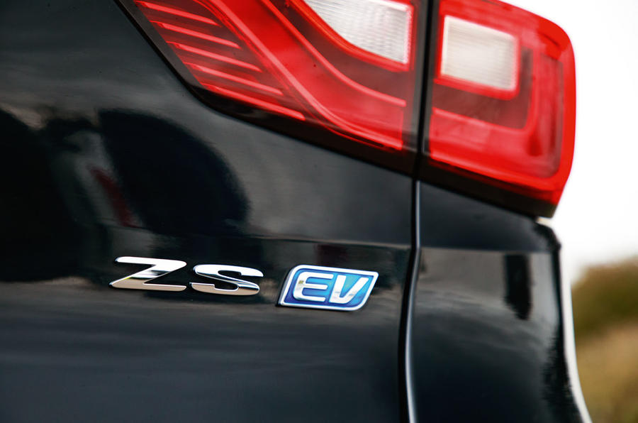MG ZS EV 2019 road test review - rear badge