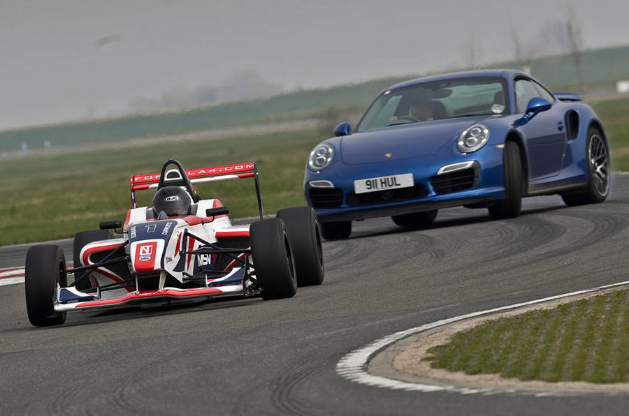 Opposites attack: Porsche 911 Turbo S vs F4 race car