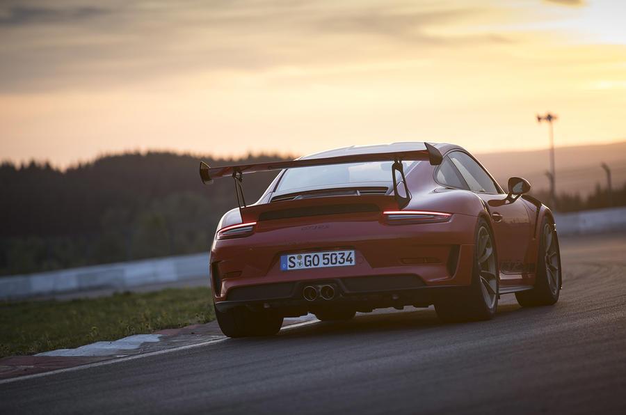Porsche 911 GT3 RS 2018 review sunset rear