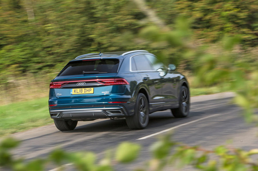 Audi Q8 50 TDI Quattro S Line 2018 road test review - on the road rear