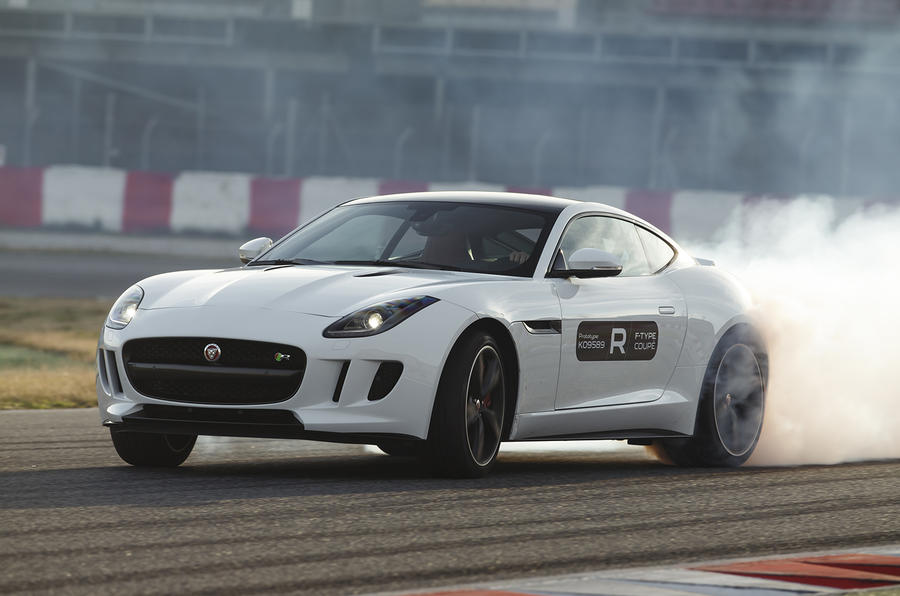 Jaguar F-type R coupe prototype drifting