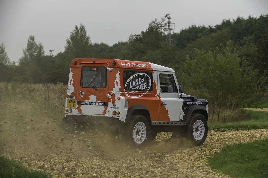 Land Rover Defender Challenge hard cornering