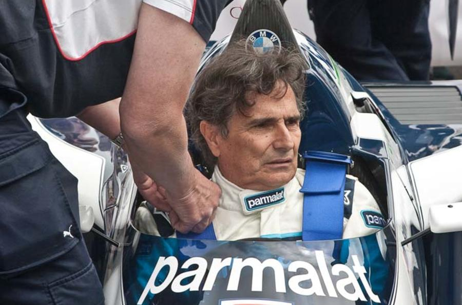 Nelson Piquet reunited with BMW-powered Brabham BT52 at Goodwood