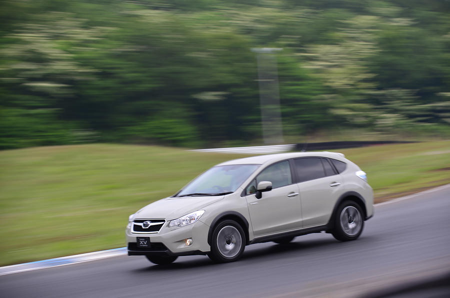 Subaru XV Hybrid on track