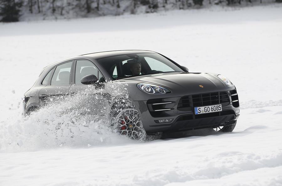 Porsche Macan Turbo drifting on snow